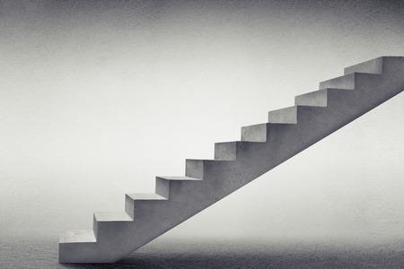 Hormigón: escaleras de hormigón gris en habitación vacía