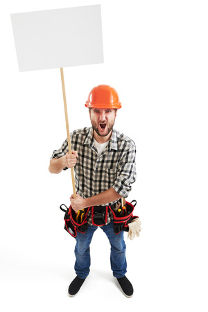 remonstrance: view from above of displeasure screaming handyman with empty white placards for your text. isolated on white background Stock Photo