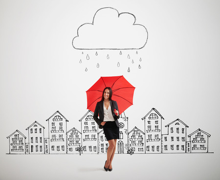 storm cloud: smiley woman with red umbrella under drawing storm cloud in the drawing city