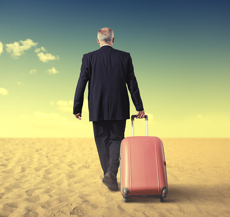 mature business man: back view of walking businessman with suitcase in a desert