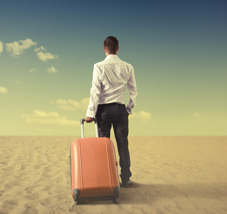 standing businessman: back view of businessman with bag standing in desert and looking at the distance