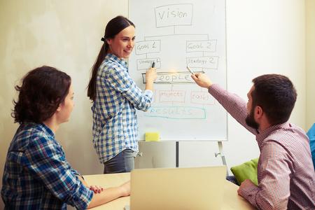 tablero: Altavoz sonriente explicar la nueva estrategia cerca de tablero blanco y mirando a sus colegas Foto de archivo