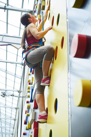 safety harness: A young woman in safety harness is climbing up on the wall in rock-climbing center