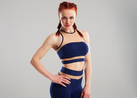fit woman in blue sportswear