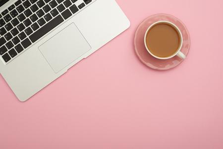 Workplace flatlay with laptop and coffee cup Zdjęcie Seryjne - 106807640