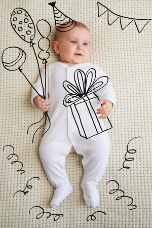 Adorable baby girl in birthday party sketch