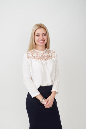 Portrait of beautiful young woman smiling Zdjęcie Seryjne