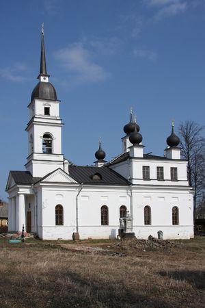 blockade: Russia. Church in settlement Kobona. In days of the Second World War here inhabitants of blockade Leningrad waited for sending on Life Road.