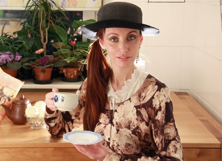 The girl dressed in English style, drinks tea Stock Photo - 4258440