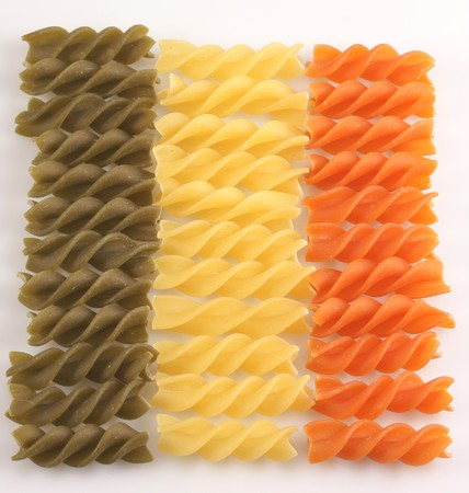 lied: Multi-coloured macaroni of spiral is lied out with numbers Stock Photo