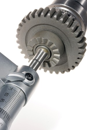micrometer: Part of micrometer close-up, will measure gear
