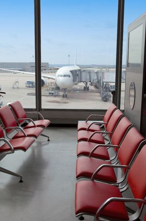 Airport. Waiting room and plane