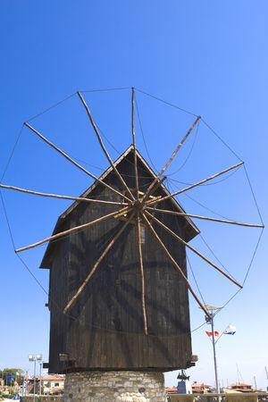aegis: Bulgaria, city Nesebr- under the aegis UNESCO , old wooden mill Stock Photo
