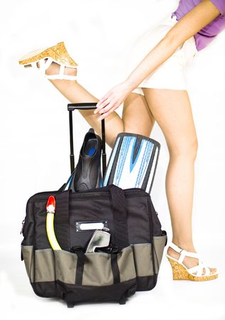 lugage: Woman with travel case. Focus in centre of staff