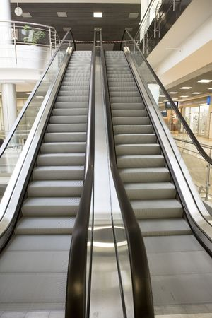 conducting: The empty escalator conducting upward  Stock Photo