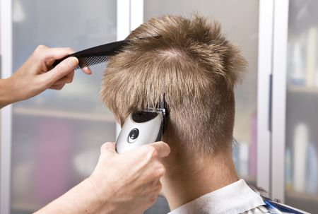 hairdresser cuts client Stock Photo - 6133845