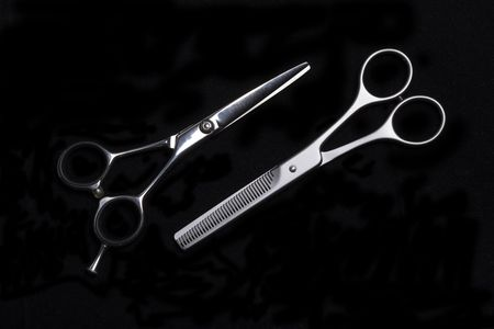 hair clippers: Special scissors for work of hairdresser, for hairstyle and for giving hairdress of final form Stock Photo