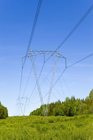 isolators: Support of line of electricity transmissions with isolators and wires