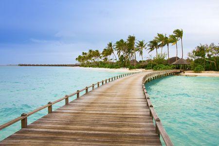 blue lagoon:  Island in ocean, Maldives