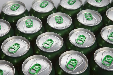 Aluminum cans with keys close-up, focus on center   photo
