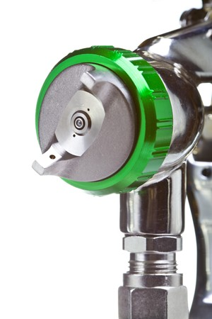 paints:  New metal brilliant Spray gun closeup Stock Photo