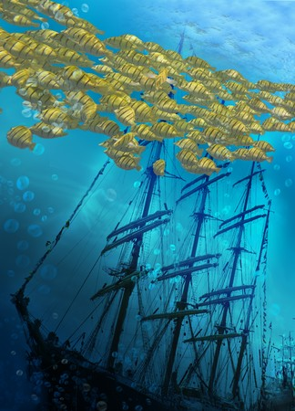 galleon: Sinking ship on sea bottom  and flight of fishes. Stock Photo