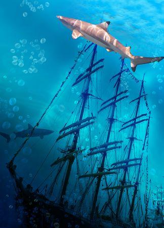 Sinking ship on sea bottom  and sharks Stock Photo - 7166270