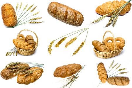 Wheat and bread on white background