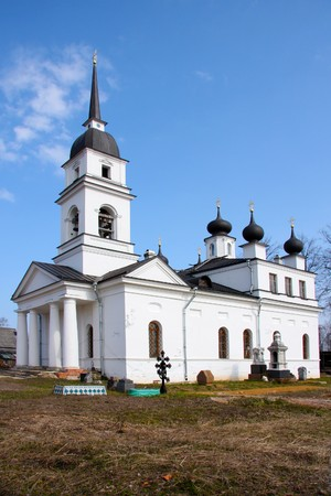 waited: Church in Kobona, Russia was from here begun Lifeline , in this church Resident of Blockaded Leningrad waited ferry through Ladoga. Stock Photo