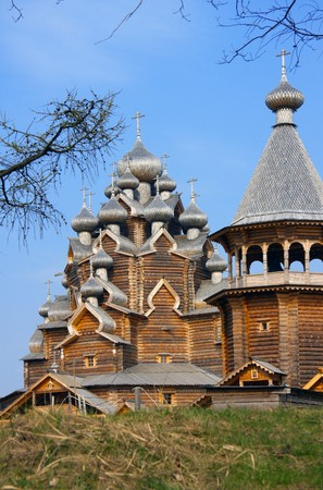 Wooden orthodox church in name of Cover All-holy mother of God, Russia (Pokrovskaya church) photo