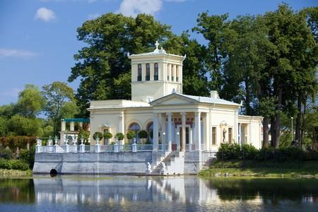 Russia, Peterhof (Petrodvorets). Olga's Pavilion on  island in Olga's pond. Stock Photo - 7926182
