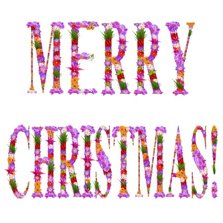 Merry Christmas it is written flowers on lilac letters     photo