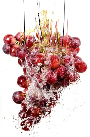 Grapes cluster in water splashes photo