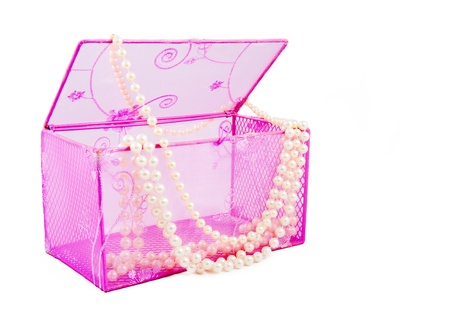 Pink casket and pearl beads on a white background photo