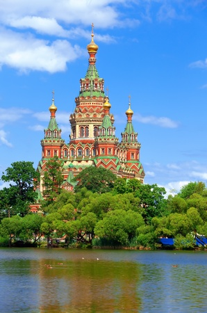 ロシア、ペテルゴフ教会の聖ペトロ パウロ教会 写真素材