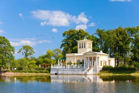 olgas: Russia, Peterhof (Petrodvorets). Olgas Pavilion on  island in Olgas pond.