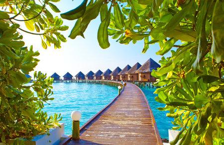 몰디브. 물 위에 더미에 빌라