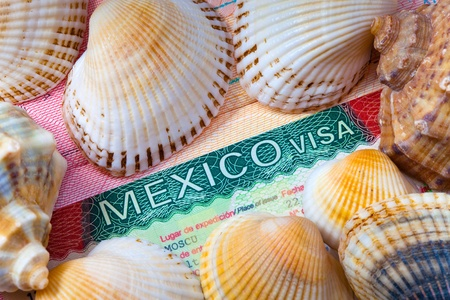 The visa of Mexico and sea cockleshells - the rest concept photo