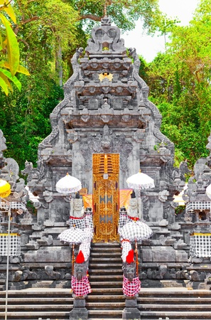 Entrance in temple, decorated to holiday. Indonesia, island of Bali. photo