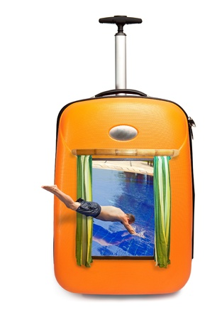 It is time on rest - The man jumps in pool which is visible in a road suitcase! Stock Photo - 9184531