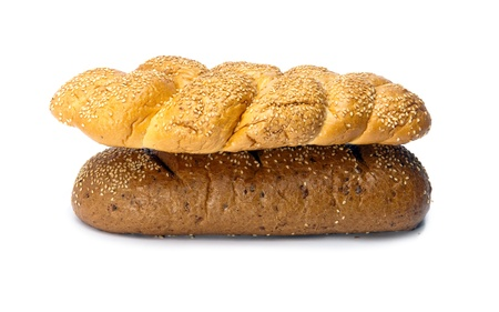 Bread on white background Stock Photo - 9292552
