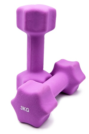 kg: Pink 3 kg dumbbells in a neoprene cover