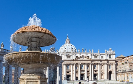Vatican. A fountain before St. Peters Cathedral