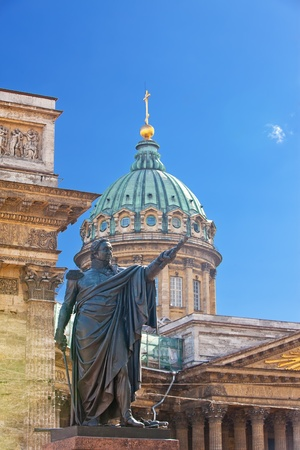 Russia. St.-Petersburg. A monument to Barclay de Tolli at the Kazan Cathedral in city center. photo