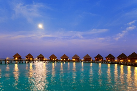 tourist resort: Island in ocean, Maldives. Night.