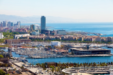 Spain. Barcelona. The top view on seaport photo