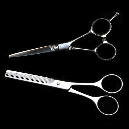 black barber: Special scissors for work of hairdresser Stock Photo
