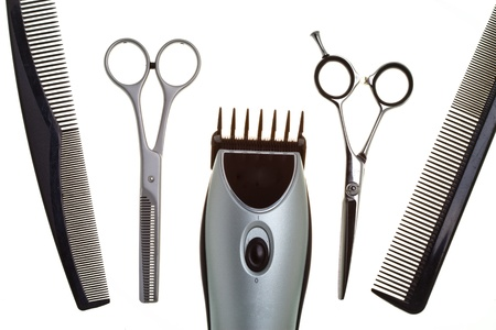 clippers: Special scissors for work of hairdresser Stock Photo