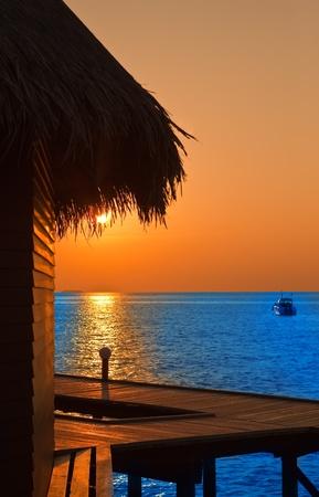 Island in ocean, Maldives.  Sunset