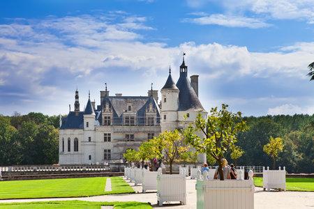 castle of a valley of the river Loire. France. Chateau de Chenonceau